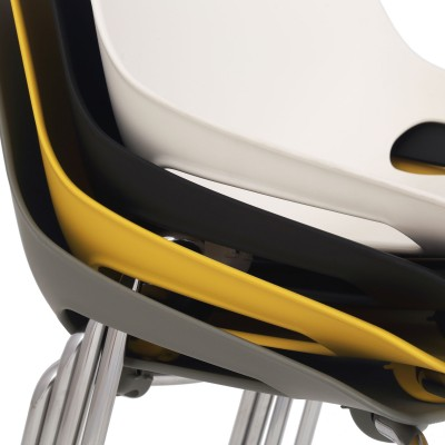 Scaun Q5 - cadru cromat - negru