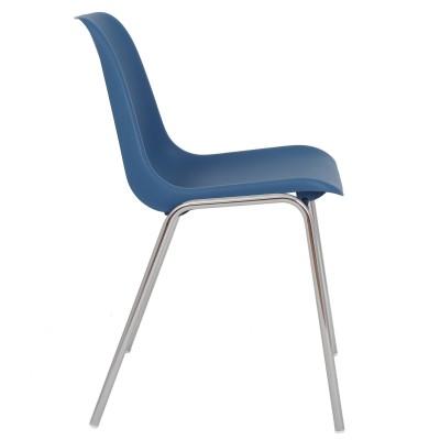 Scaun Vicenza - cadru cromat - albastru