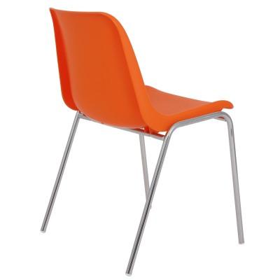 Scaun Vicenza - cadru cromat - portocaliu