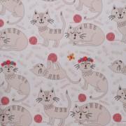 Stofa Print - Pisici roz