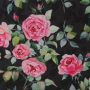 Stofa Print - Trandafiri fond negru