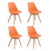Set 4 scaune Celia - cadru lemn fag - imitatie piele diverse culori